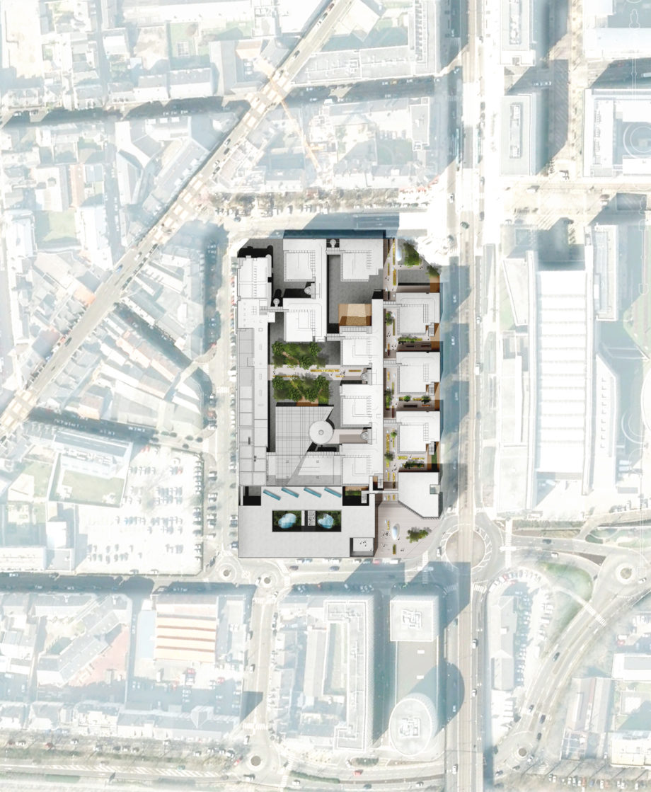 Plan masse  - Crédit Mutuel Headquarters and restructuration of CIC, Nantes