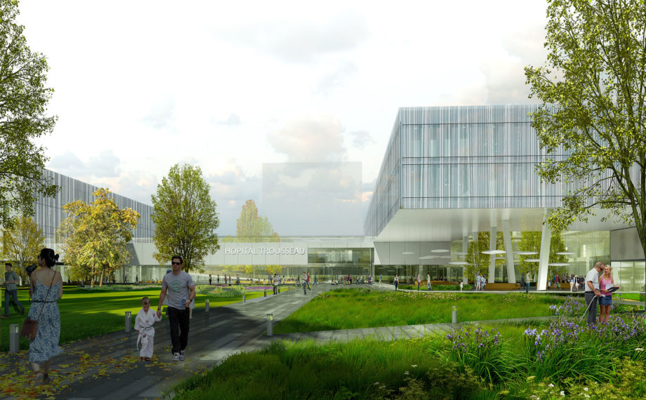 The park at the entrance of the New Trousseau Hospital.  Image credit: Lab Top- New Trousseau Hospital, CHU Tours